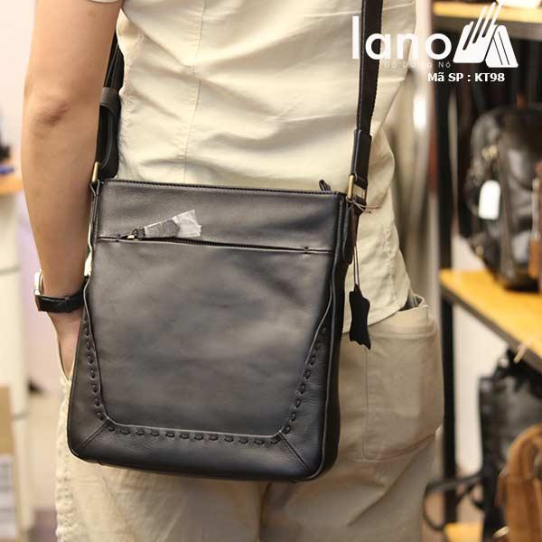 Túi da nam Lano đựng iPad mỏng gọn tiện lợi KT98 - đeo lưng