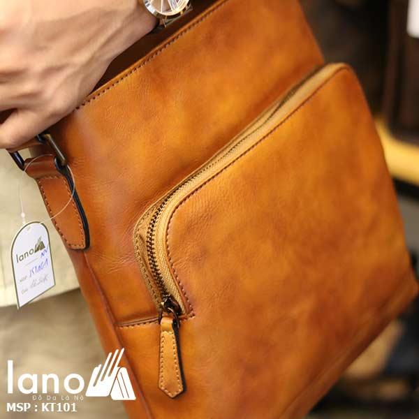 Túi đeo chéo nam công sở da bò đẳng cấp cho phái mạnh KT101 nâu vàng