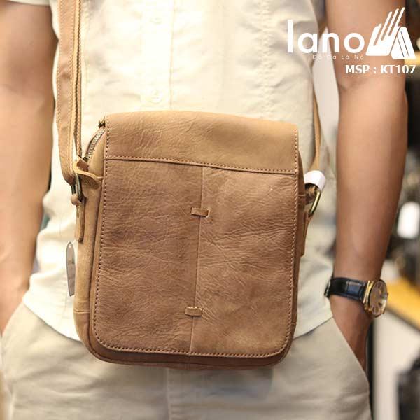 Túi đeo chéo nam da bò cao cấp Lano sang trọng thời trang tiện lợi KT107 - đeo trước