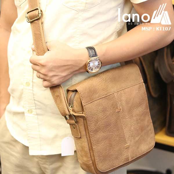 Túi đeo chéo nam da bò cao cấp Lano sang trọng thời trang tiện lợi KT107 - đeo chéo