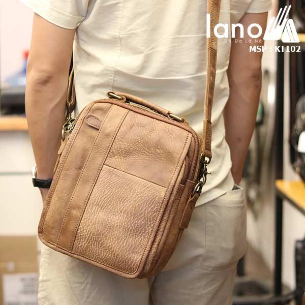 Túi đeo chéo nam da bò thật Lano thời trang cao cấp KT102 - đeo lưng