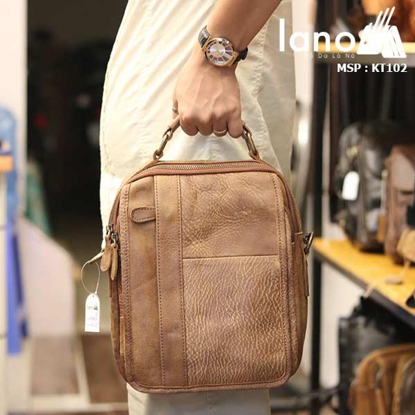 Túi đeo chéo nam da bò thật Lano thời trang cao cấp KT102 - xách tay