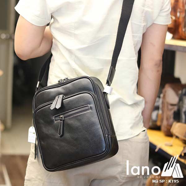 Túi đeo chéo nam Lano công sở da bò cực độc KT95 đen - đeo lưng