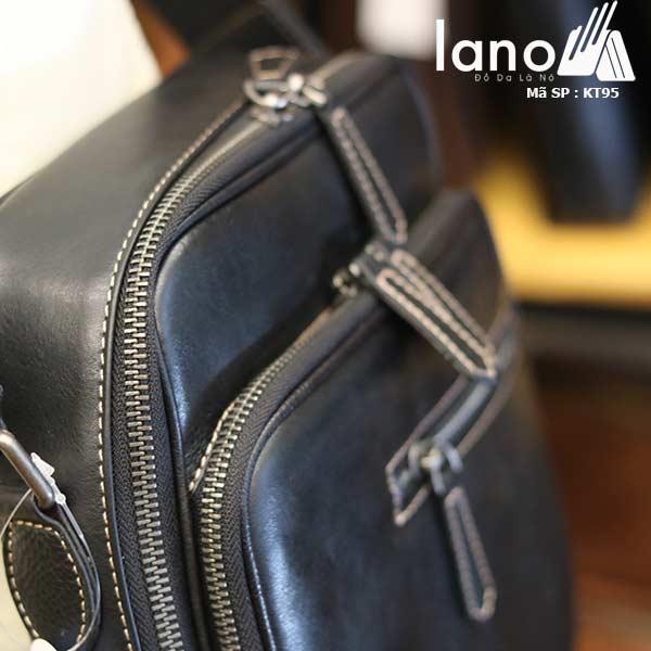 Túi đeo chéo nam Lano công sở da bò cực độc KT95 đen