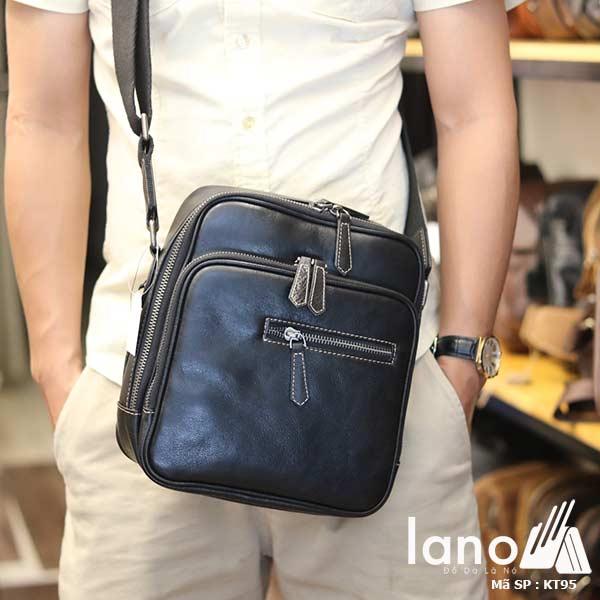 Túi đeo chéo nam Lano công sở da bò cực độc KT95 đen - đeo trước