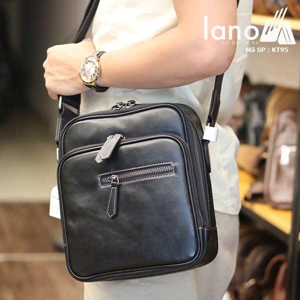 Túi đeo chéo nam Lano công sở da bò cực độc KT95 đen - đeo chéo