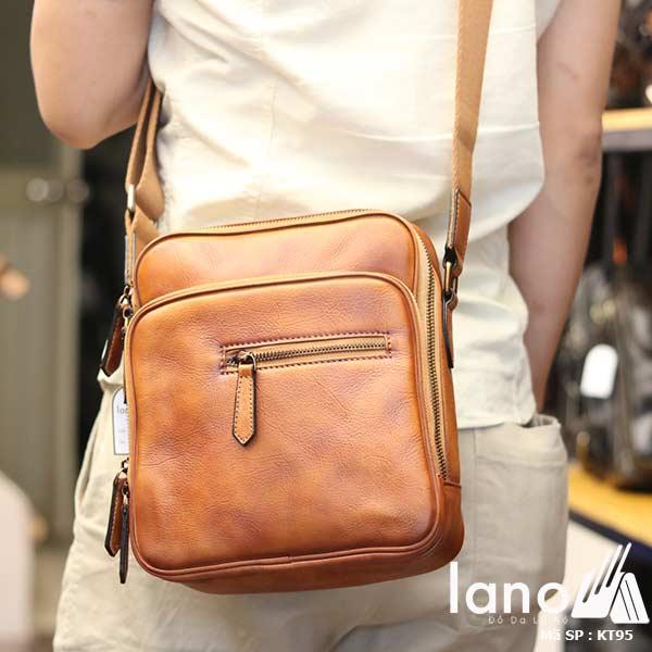 Túi đeo chéo nam Lano công sở da bò cực độc KT95 nâu vàng - đeo lưng