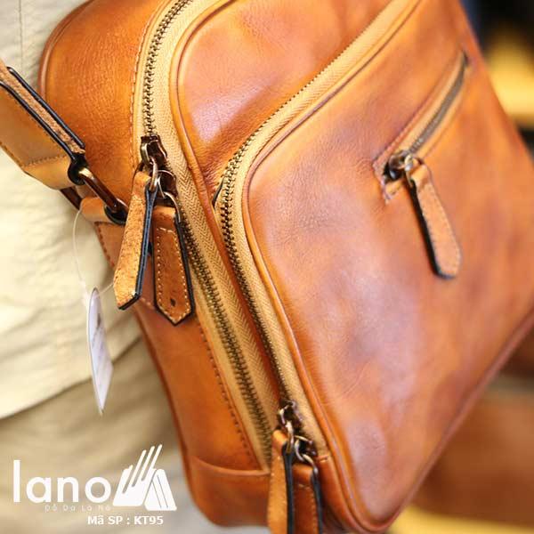 Túi đeo chéo nam Lano công sở da bò cực độc KT95 nâu vàng