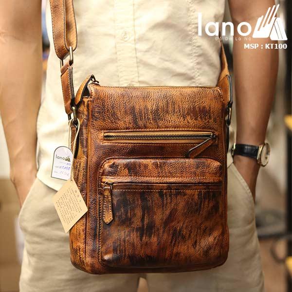Túi đeo chéo nam Lano công sở da bò thật sang trọng gọn nhẹ KT100 nâu vàng - đeo trước