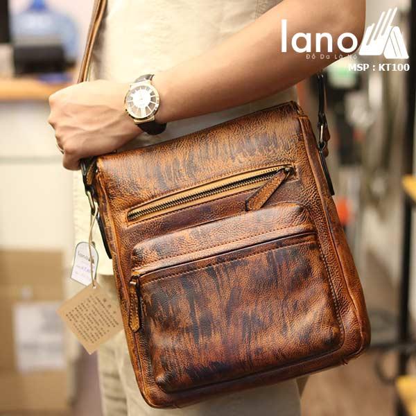 Túi đeo chéo nam Lano công sở da bò thật sang trọng gọn nhẹ KT100 nâu vàng - đeo chéo
