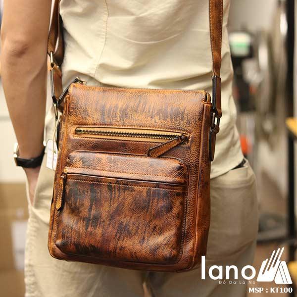 Túi đeo chéo nam Lano công sở da bò thật sang trọng gọn nhẹ KT100 nâu vàng - đeo lưng