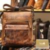 Túi đeo chéo nam Lano công sở da bò thật sang trọng gọn nhẹ KT100 nâu vàng