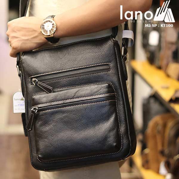 Túi đeo chéo nam Lano công sở da bò thật sang trọng gọn nhẹ KT100 đen - đeo chéo