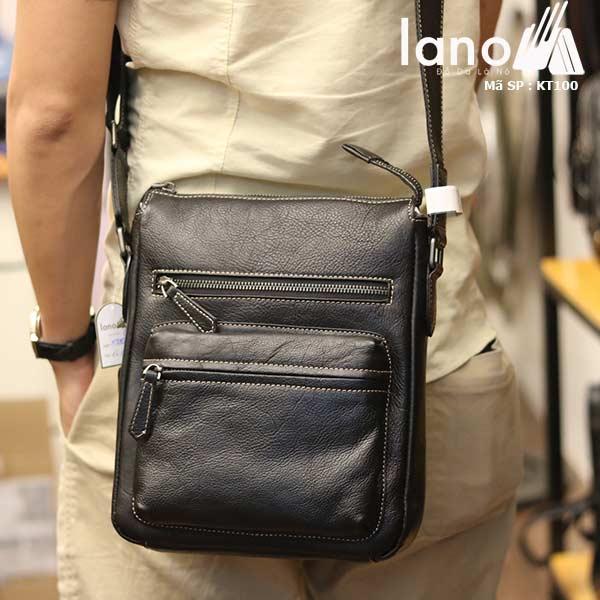 Túi đeo chéo nam Lano công sở da bò thật sang trọng gọn nhẹ KT100 đen - đeo lưng