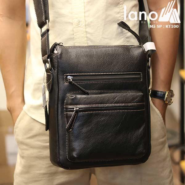 Túi đeo chéo nam Lano công sở da bò thật sang trọng gọn nhẹ KT100 đen - đeo trước