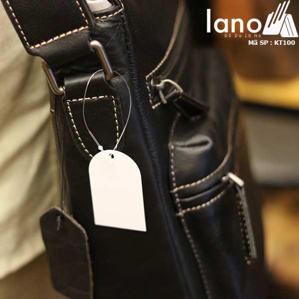 Túi đeo chéo nam Lano công sở da bò thật sang trọng gọn nhẹ KT100 đen