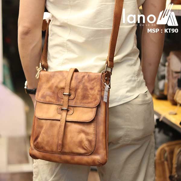 Túi đeo chéo nam Lano da bò thật trẻ trung tiện lợi KT90 nâu vàng - đeo lưng