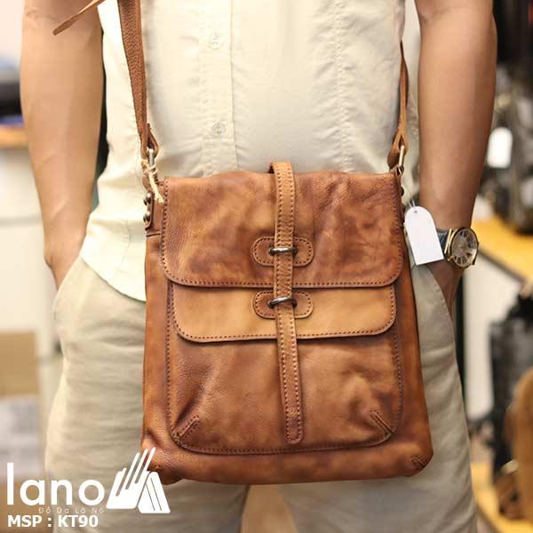Túi đeo chéo nam Lano da bò thật trẻ trung tiện lợi KT90 nâu vàng - đeo trước