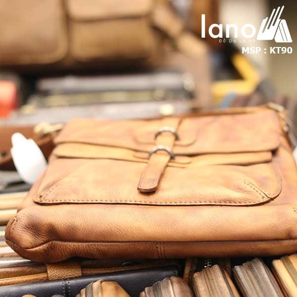 Túi đeo chéo nam Lano da bò thật trẻ trung tiện lợi KT90 - cạnh đáy