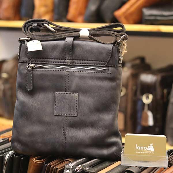 Túi đeo chéo nam Lano da bò thật trẻ trung tiện lợi KT90 xanh - mặt sau