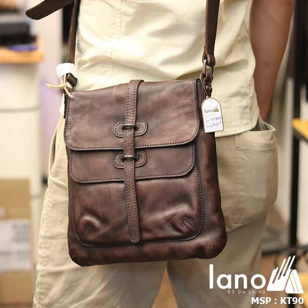 Túi đeo chéo nam Lano da bò thật trẻ trung tiện lợi KT90 nâu - đeo lưng