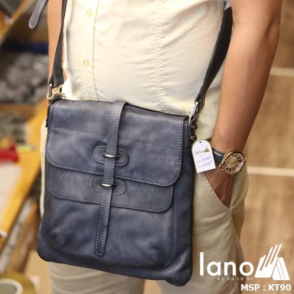 Túi đeo chéo nam Lano da bò thật trẻ trung tiện lợi KT90 xanh- đeo trước
