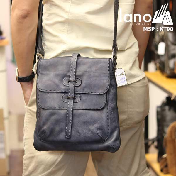 Túi đeo chéo nam Lano da bò thật trẻ trung tiện lợi KT90 xanh- đeo lưng