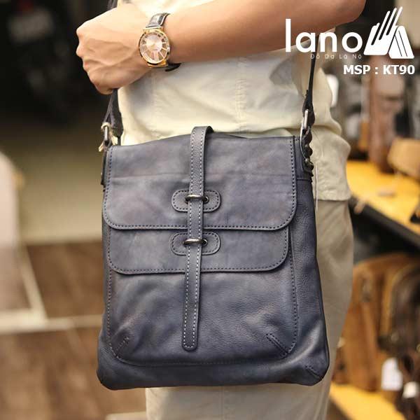 Túi đeo chéo nam Lano da bò thật trẻ trung tiện lợi KT90 xanh- đeo chéo