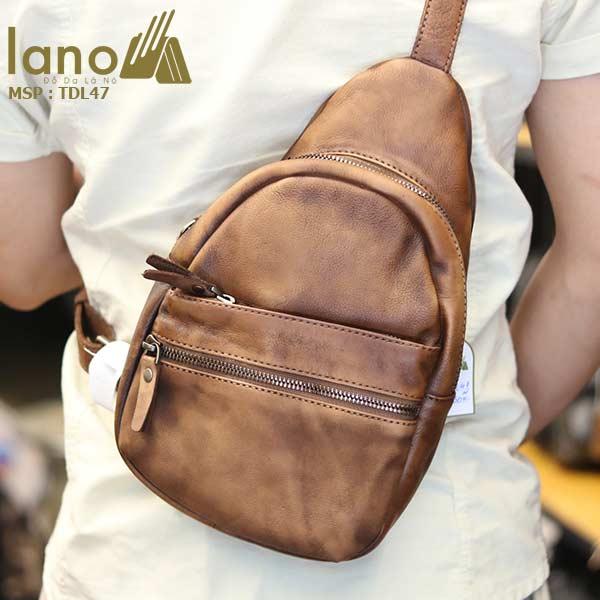 Túi đeo chéo ngực nam Lano da bò cao cấp tiện dụng mẫu mới 2018 TDL47 - đeo sau lưng