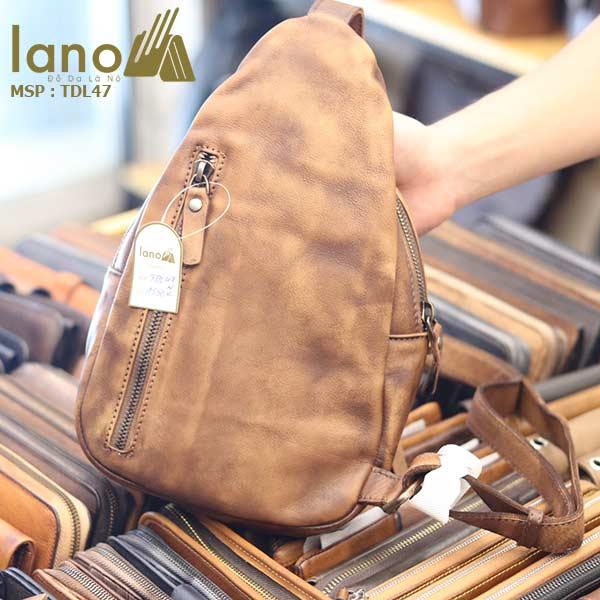 Túi đeo chéo ngực nam Lano da bò cao cấp tiện dụng mẫu mới 2018 TDL47 - mặt sau