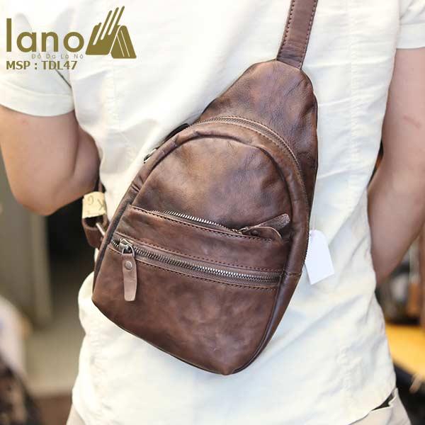 Túi đeo chéo ngực nam Lano da bò cao cấp tiện dụng mẫu mới 2018 TDL47 - đeo lưng