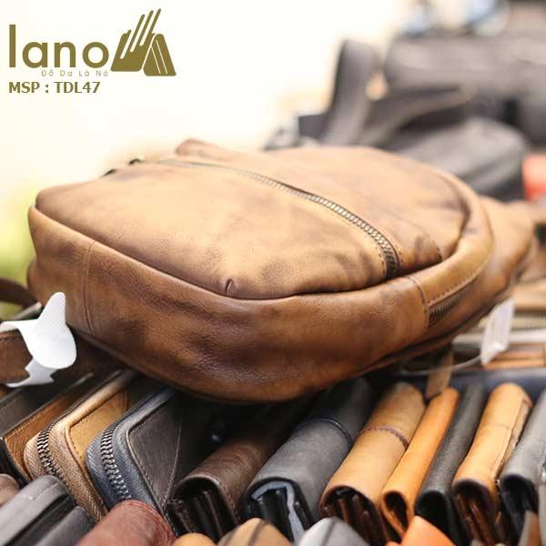 Túi đeo chéo ngực nam Lano da bò cao cấp tiện dụng mẫu mới 2018 TDL47 - cạnh đáy