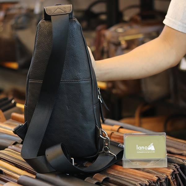 Túi đeo ngực nam Lano da bò thời trang phong cách TDL49 mặt sau