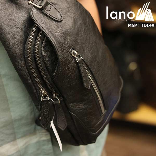 Túi đeo ngực nam Lano da bò thời trang phong cách TDL49 đen - đeo trước ngực
