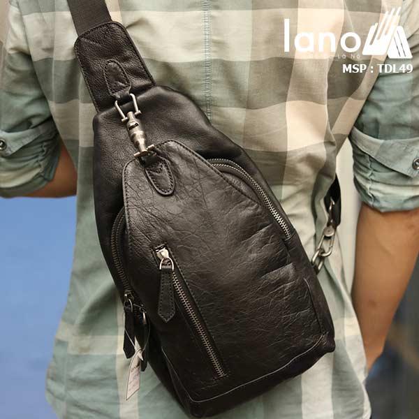 Túi đeo ngực nam Lano da bò thời trang phong cách TDL49 đen - đeo lưng