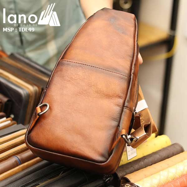 Túi đeo ngực nam Lano da bò thời trang phong cách TDL49 -mặt sau