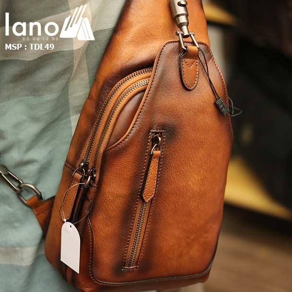 Túi đeo ngực nam Lano da bò thời trang phong cách TDL49 - đeo lưng