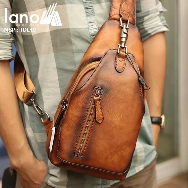 Túi đeo ngực nam Lano da bò thời trang phong cách TDL49 - đeo trước ngực