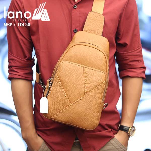 Túi đeo ngực nam Lano thời trang cao cấp TDL50 vàng - đeo trước ngực