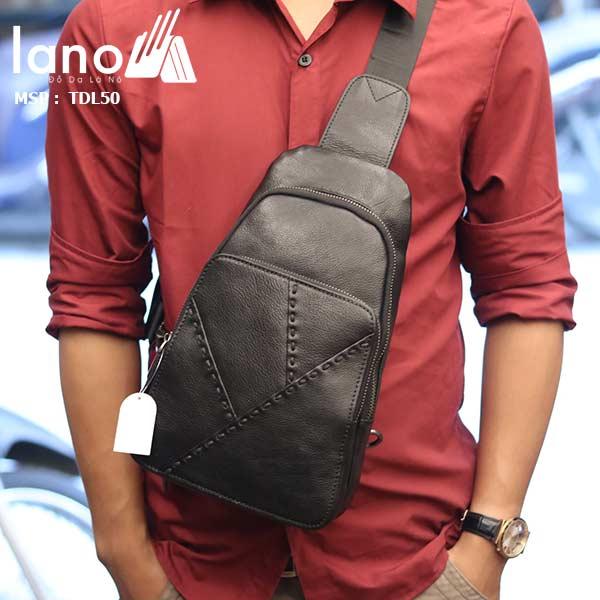 Túi đeo ngực nam Lano thời trang cao cấp TDL50 đen - đeo trước ngực