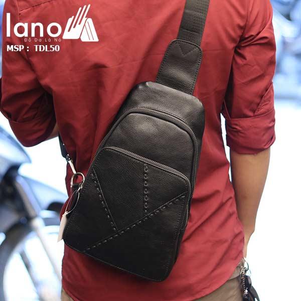 Túi đeo ngực nam Lano thời trang cao cấp TDL50 đen - đeo lưng