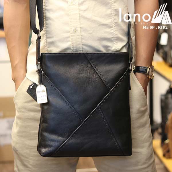 Túi đựng iPad Lano da bò thật phong cách cá tính mẫu mới nhất 2018 đen - đeo trước