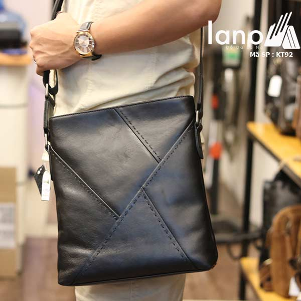 Túi đựng iPad Lano da bò thật phong cách cá tính mẫu mới nhất 2018 đen