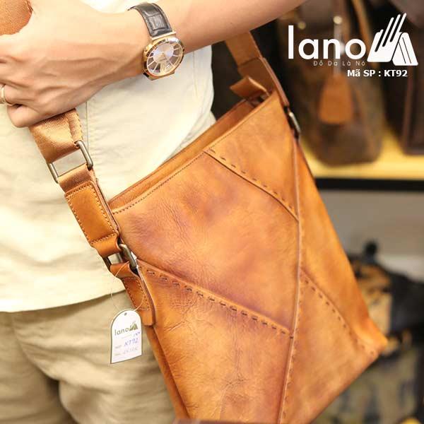Túi đựng iPad Lano da bò thật phong cách cá tính mẫu mới nhất 2018 nâu vàng