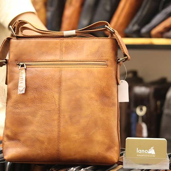 Túi đựng iPad Lano da bò thật phong cách cá tính mẫu mới nhất 2018 nâu vàng - mặt sau