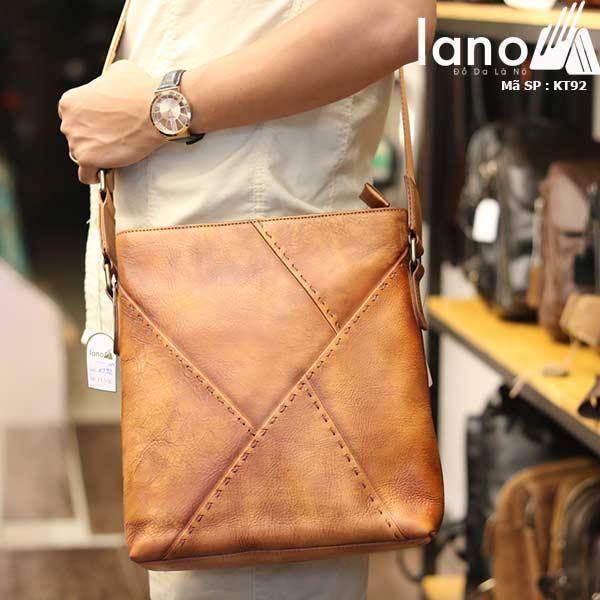 Túi đựng iPad Lano da bò thật phong cách cá tính mẫu mới nhất 2018 nâu vàng - đeo vai
