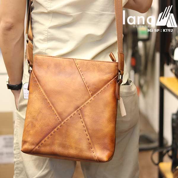 Túi đựng iPad Lano da bò thật phong cách cá tính mẫu mới nhất 2018 nâu vàng - đeo sau lưng