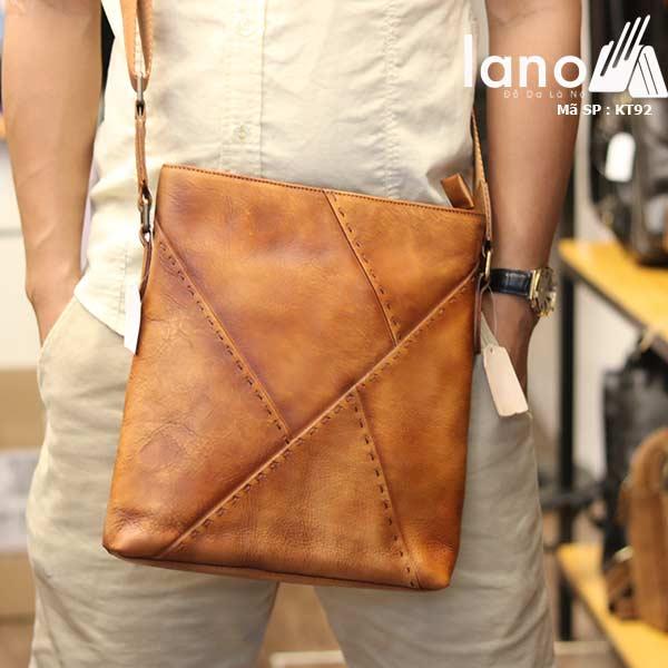 Túi đựng iPad Lano da bò thật phong cách cá tính mẫu mới nhất 2018 nâu vàng - đeo trước