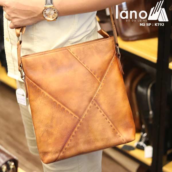 Túi đựng iPad Lano da bò thật phong cách cá tính mẫu mới nhất 2018 nâu vàng - đeo chéo