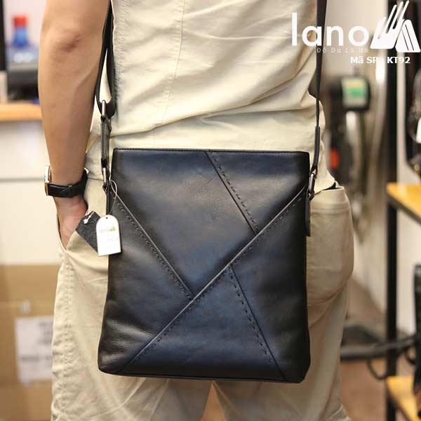 Túi đựng iPad Lano da bò thật phong cách cá tính mẫu mới nhất 2018 đen - đeo sau lưng